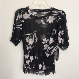 Haute Monde See-Through Floral Printed Top Size M
